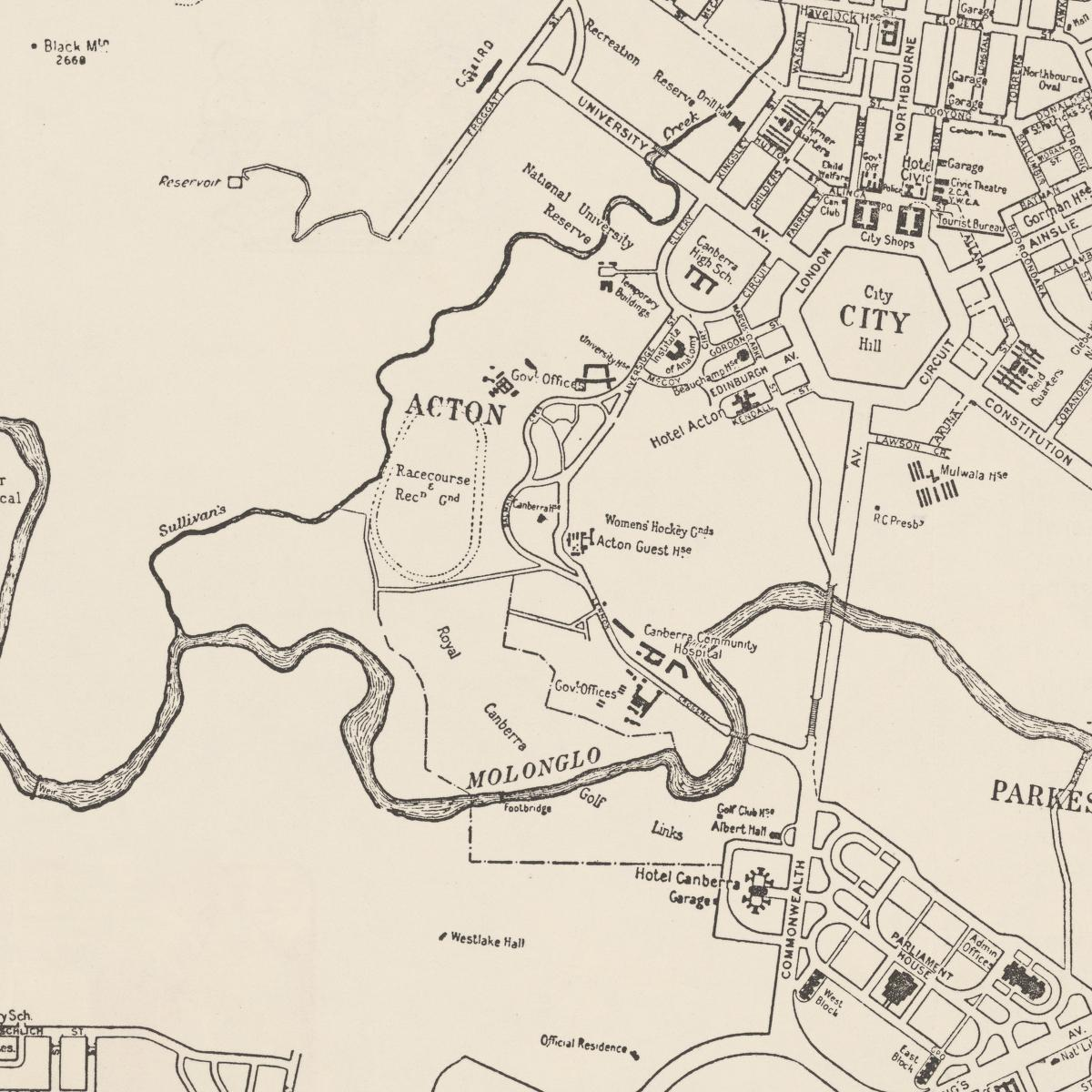 Acton Map 1950 showing Royal Canberra Golf Links Sunken Stories of
